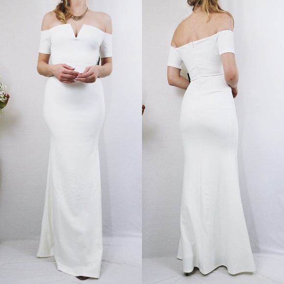 LuLus White Off-Shoulder Maxi Gown Bodycon Dress 42b3cb94db5d